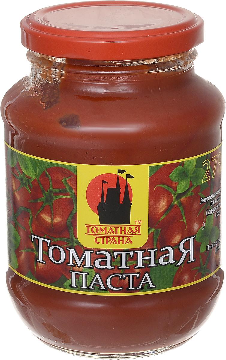 Томатная страна Паста томатная, 500 г24Томатная паста Томатная страна с оригинальным, свежим вкусом, насыщенным цветом и ароматом. Она очень густая (содержит более 27% сухих веществ) и приготовлена только из помидоров.