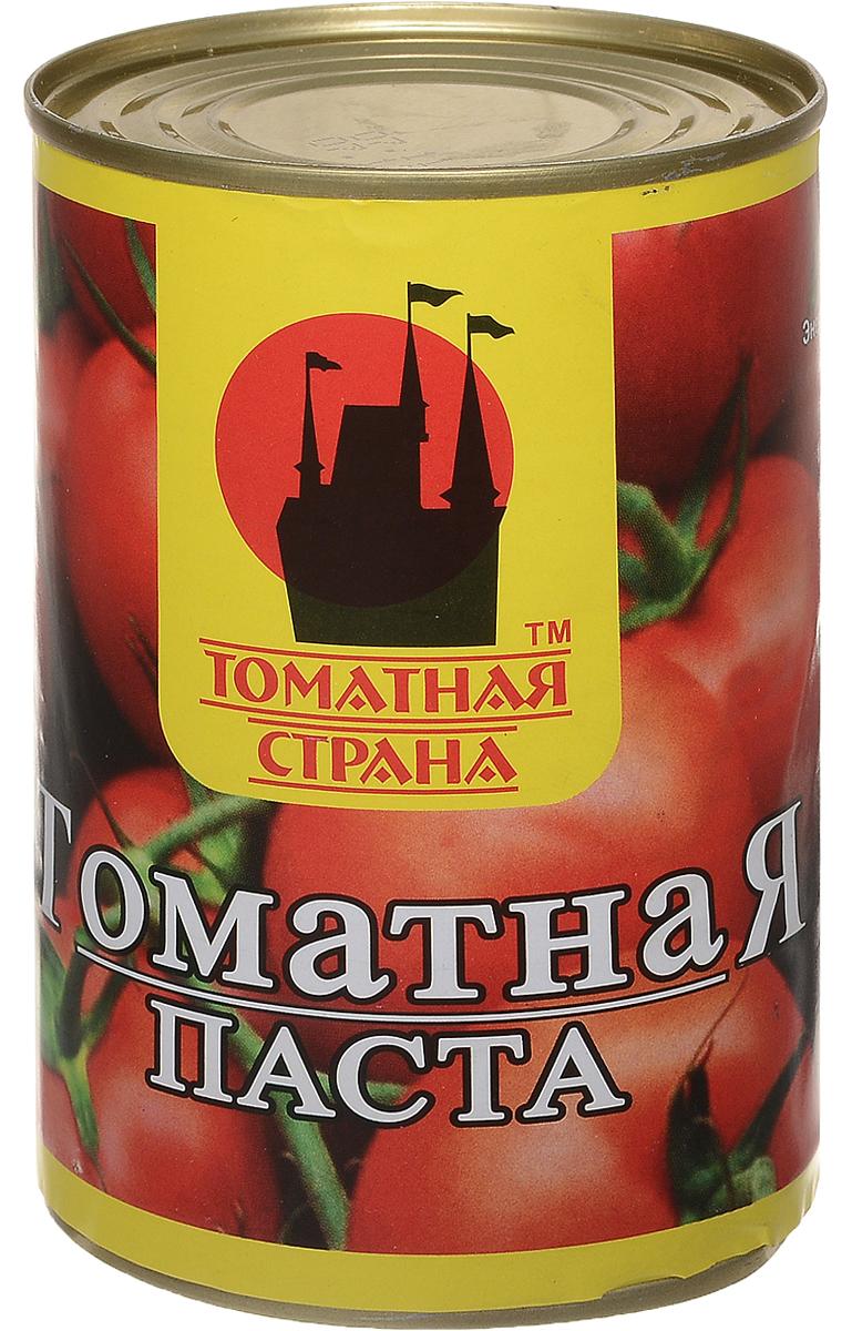 Томатная страна Паста томатная, 380 г0120710Томатная паста Томатная страна - кулинарная паста из помидоров. В процессе изготовления помидоры протирают для получения гомогенной массы, а затем концентрируют полученное изделие, в частности путем уваривания. Томатная паста отличается от томат-пюре большей концентрацией - содержание сухих веществ 27%.Томатная паста может использоваться для изготовления кетчупа, восстановленного томатного сока и других продуктов на томатной основе. В небольших количествах используется для обогащения аромата соусов. Томатную пасту добавляют в супы, используют как основу соуса для пиццы.