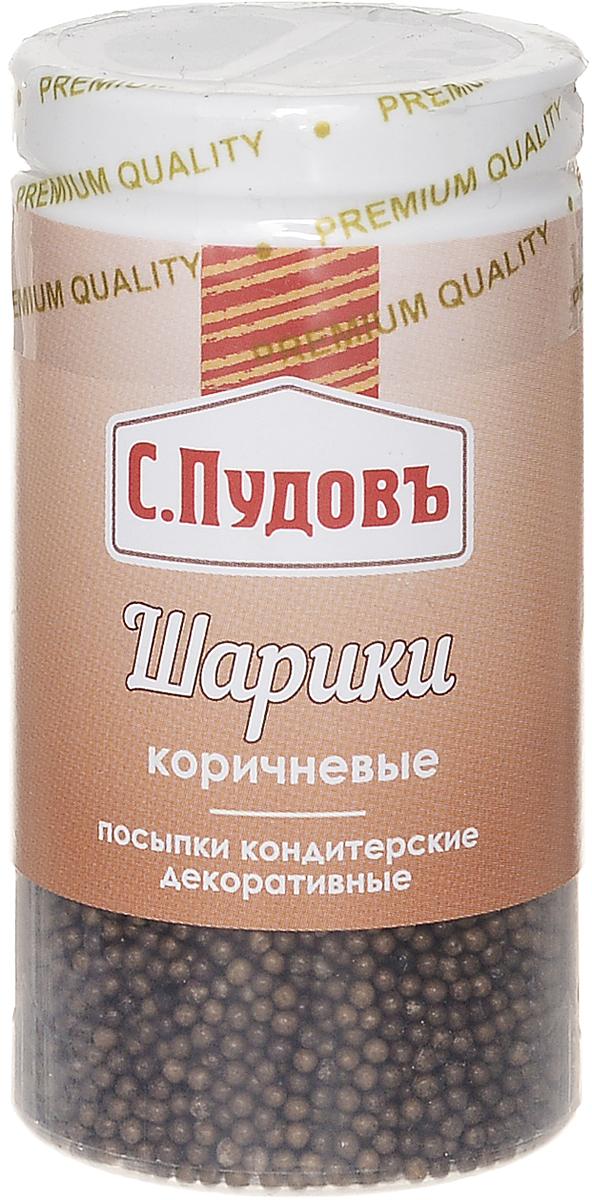Пудовъ посыпки шарики коричневые, 40 г