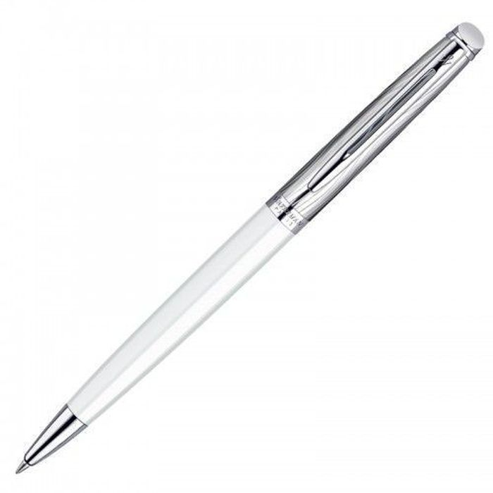 Waterman Ручка шариковая Hemisphere Deluxe White CT синяя корпус стальной белый -  Ручки