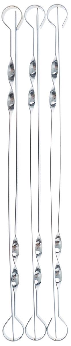 Шампур плоский ПИКНИЧОК, длина 45 см, 6 шт54 009312Плоские шампуры ПИКНИЧОК, изготовленные из высококачественной нержавеющей стали, предназначены для приготовления пищи из мяса, рыбы, птицы, овощей на открытом воздухе. Заостренные окончания шампуров позволяют насаживать ломтики легко, быстро, безопасно и, вместе с тем, аккуратно, сохраняя их целостность. Толщина шампуров оптимальна для того, чтобы во время приготовления шашлыка они не прогибались и не деформировались под тяжестью нанизанных продуктов. Ручка-винт фиксирует шампур на мангале.Толщина шампура: 1,5 мм.Ширина шампура: 1 см.Количество в упаковке: 6 шт.