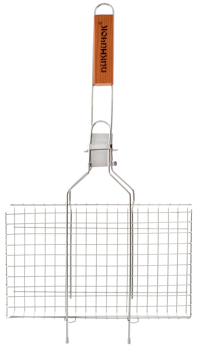 Решетка-гриль Пикничок Семейная реликвия. Альпийская, со съемной ручкой, 34 х 21 см00000927Решетка-гриль Пикничок Семейная реликвия. Альпийская изготовлена из высококачественной нержавеющей стали, поэтому при длительном использовании она не теряет своей формы, а так же вы легко удалите с нее остатки пищи. В решетке-гриль удобно готовить мясо, рыбу, морепродукты и овощи. Средняя решетка-гриль Пикничок Семейная реликвия. Альпийская рассчитана на небольшую компанию. Рукоятка изделия оснащена деревянной вставкой и фиксирующей скобой, которая зажимает створки решетки. При необходимости рукоятку можно снять. Размер рабочей поверхности решетки (без учета усиков): 34 х 21 см.Общая длина решетки (с ручкой): 62 см.