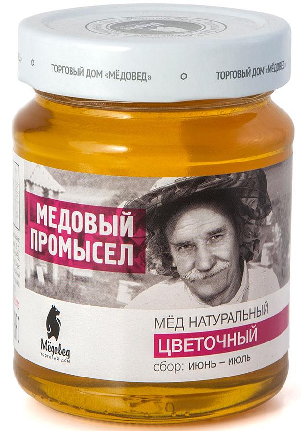 Медовед Медовый промысел мед пчелиный натуральный цветочный, 350 г