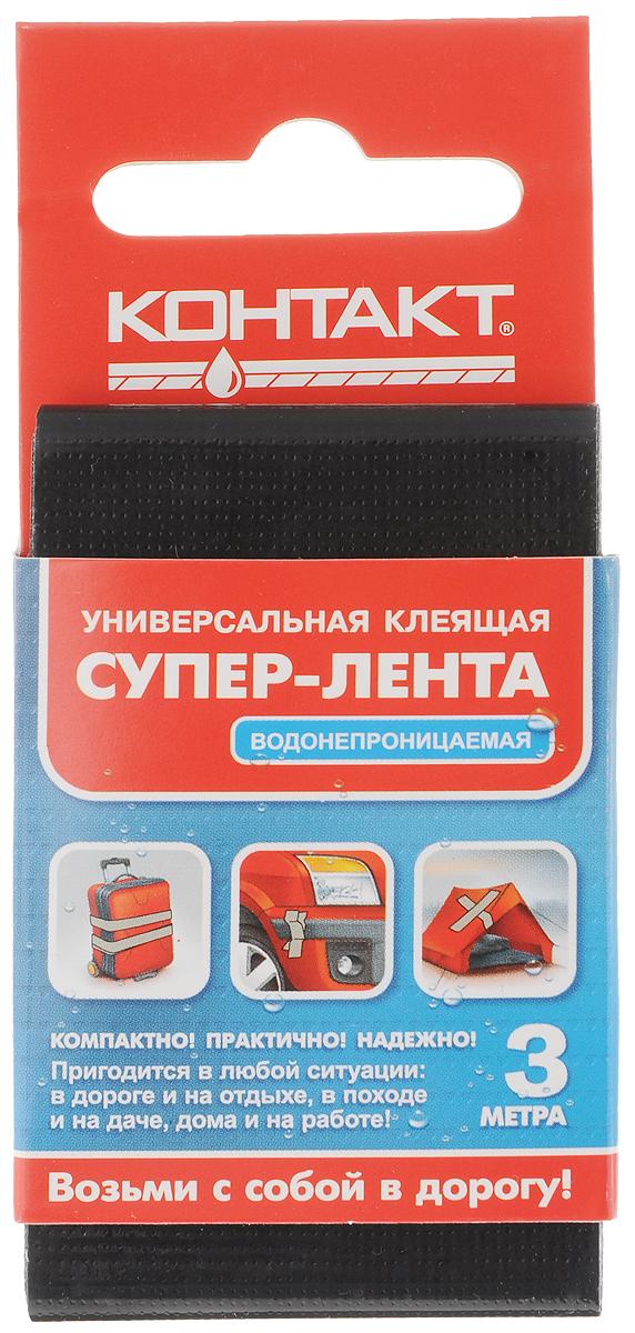 Лента клеящая Контакт, универсальная, цвет: черный, 3 мПЦ3706ТЗЛ-4РSТрехслойная водонепроницаемая клеящая лента Контакт предназначена для герметизации, упаковки и быстрого ремонта. Используется для наружных и внутренних работ. Лента легко надрывается руками поперек, также устойчива к УФ лучам. Диапазон температур от -10 до +60°С.