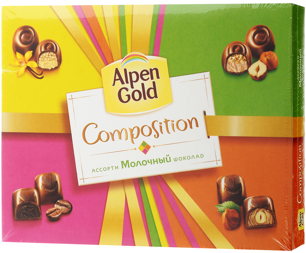 Alpen Gold Composition конфеты шоколадные ассорти, 142 г4650061331603Alpen Gold Composition ассорти представляет собой набор из четырех видов традиционных конфет. Это конфеты с шоколадной начинкой со вкусом капучино, ванильной начинкой и воздушным рисом, цельным фундуком в кремовой начинке, и дробленым фундуком в кремовой начинке. Сладости помещены в картонную коробку с пластиковым разделителем внутри. В коробке по пять конфет каждого вида.Уважаемые клиенты! Обращаем ваше внимание, что перечень типичного химического состава продукта представлен на дополнительном изображении.