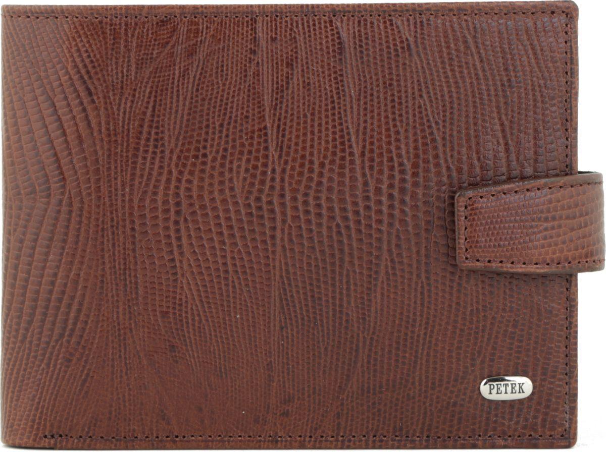Портмоне мужское Petek 1855, цвет: коричневый. 102.041.02BM8434-58AEНатуральная кожа, рептилия, Горизонтальное, С отделением для монет / С отделением для кредиток
