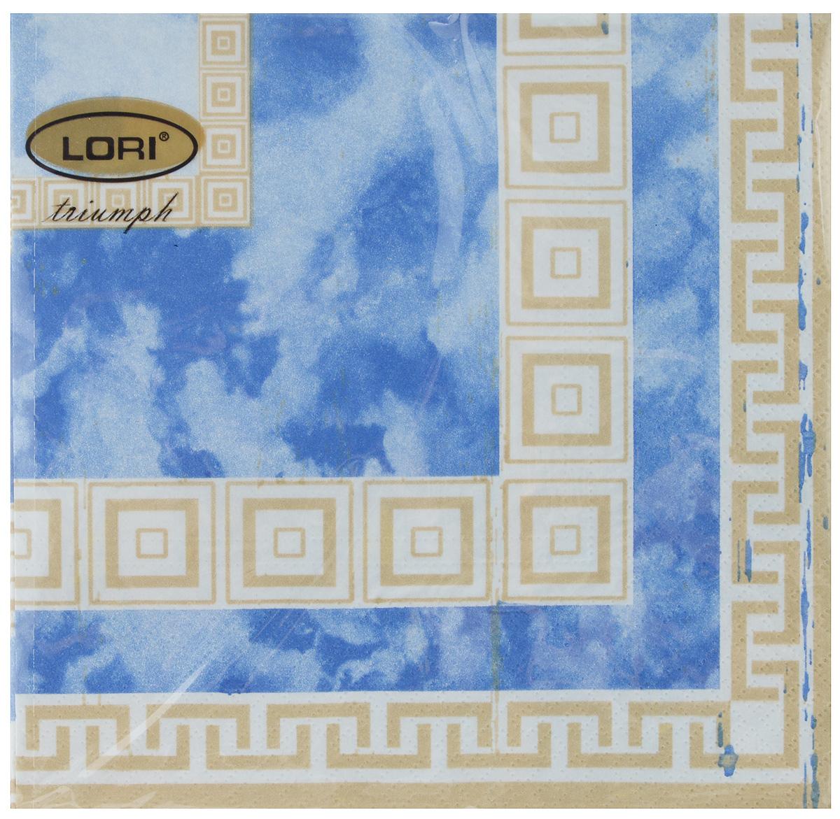 Салфетки бумажные Lori Triumph, трехслойные, цвет: синий, светло-коричневый, 33 х 33 см, 20 шт19201Декоративные трехслойные салфетки Lori Triumph выполнены из 100% целлюлозы и оформлены ярким рисунком. Изделия станут отличным дополнением любого праздничного стола. Они отличаются необычной мягкостью, прочностью и оригинальностью.Размер салфеток в развернутом виде: 33 х 33 см.