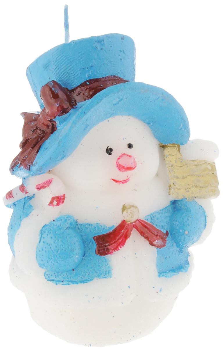 Свеча декоративная House & Holder Снеговик, цвет: белый, голубой, высота 11 смRG-D31SСвеча House & Holder Снеговик, изготовленная из парафина, станет прекрасным украшением интерьера помещения в преддверии Нового года. Такая свеча создаст атмосферу таинственности и загадочности и наполнит ваш дом волшебством и ощущением праздника. Хороший сувенир для друзей и близких.