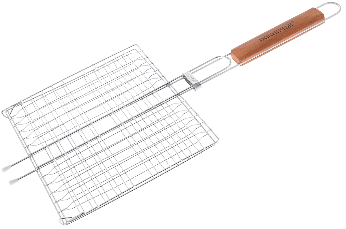 Решетка-гриль Пикничок Альпийская, 4 секции, 26,5 х 24 смХот ШейперсРешетка-гриль Пикничок Альпийская изготовлена из высококачественной стали, поэтому при длительном использовании она не теряет своей формы, а так же вы легко удалите с нее остатки пищи. В решетке-гриль 4 секции, удобно готовить мясо, рыбу, морепродукты и овощи одновременно, избегая соприкосновения продуктов между собой. Решетка-гриль Пикничок Альпийская рассчитана на 4 порции и небольшую компанию. Рукоятка изделия оснащена деревянной вставкой и фиксирующей скобой, которая зажимает створки решетки. Размер рабочей поверхности решетки (без учета усиков): 26,5 х 24 см.Общая длина решетки (с ручкой): 60 см.