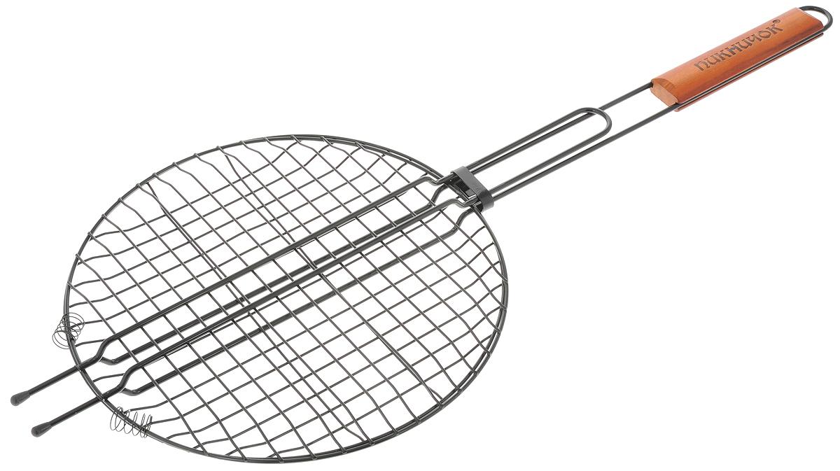 Решетка-гриль Пикничок Сицилийская, круглая, с антипригарным покрытием, диаметр 30 см3B327Решетка-гриль Пикничок Сицилийская изготовлена из высококачественной стали с антипригарным покрытием, поэтому при длительном использовании она не теряет своей формы, а так же вы легко удалите с нее остатки пищи. В решетке-гриль удобно готовить мясо, рыбу, морепродукты и овощи. Оригинальная форма решетки позволяет готовить в ней различные блюда нестандартной или круглой формы, например, пиццу или различные запеканки.Рукоятка изделия оснащена деревянной вставкой и фиксирующей скобой, которая зажимает створки решетки. Диаметр рабочей поверхности решетки (без учета усиков): 30 см.Глубина решетки: 3 см. Общая длина решетки (с ручкой): 72 см.