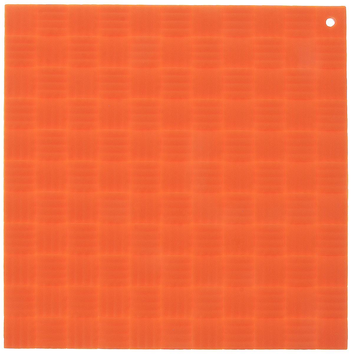 Подставка под горячее Paterra, силиконовая, цвет: оранжевый, 17,5 х 17,5 смVT-1520(SR)Подставка под горячее Paterra изготовлена из силикона и оснащена специальным отверстием для подвешивания. Материал позволяет выдерживать высокие температуры и не скользит по поверхности стола.Каждая хозяйка знает, что подставка под горячее - это незаменимый и очень полезный аксессуар на каждойкухне. Ваш стол будет не только украшен яркой и оригинальной подставкой, но и сбережен от воздействия высоких температур.