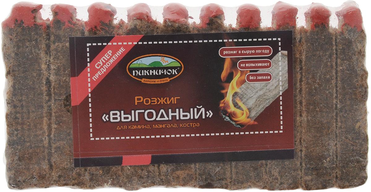 Средство для розжига Пикничок Выгодный, 10 брусков54 009312Розжиг Пикничок Выгодный в виде брусочков применяется для розжига угля, дров в мангалах, жаровнях, каминах, для розжига костров. Парафин, которым пропитана прессованная древесина, позволяет использовать розжиг и в сырую погоду. Способ применения: поштучно отломите необходимое количество брусочков, каждый подожгите, положите между углями или дровами.1 брусок горит примерно 5-6 мин.