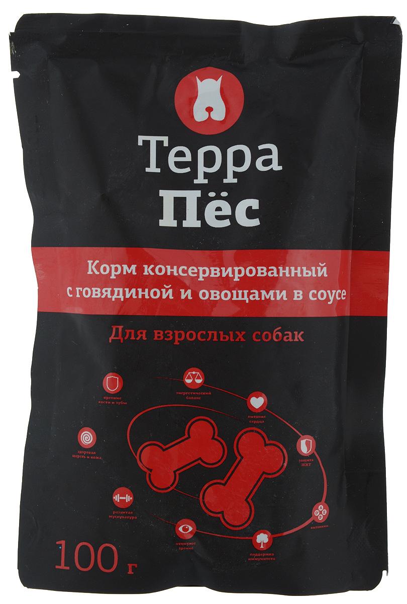 Консервы Терра Пес для взрослых собак, с говядиной и овощами в соусе, 100 г101246Консервы для взрослых собак Терра Пес - полнорационный сбалансированный корм, который идеально подойдет вашему питомцу. В рацион домашнего любимца нужно обязательно включать консервированный корм, ведь его главные достоинства - высокая калорийность и питательная ценность. Консервы лучше усваиваются, чем сухие корма. Также важно, чтобы животные, имеющие в рационе консервированный корм, получали больше влаги.Товар сертифицирован.