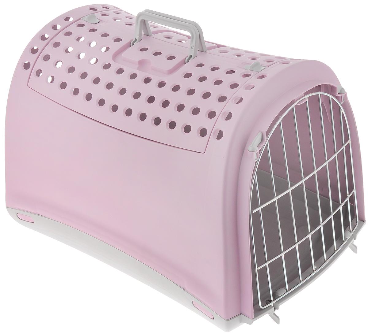 Переноска для животных IMAC Linus Cabrio, цвет: розовый, серый, 50 х 32 х 34,5 см0120710Переноска для животных IMAC Linus Cabrio изготовлена из прочного пластика и предназначена для собак мелких пород и кошек, также подойдет для грызунов, например, кроликов. Уникальная особенность этой переноски - открывающаяся крыша в виде распахивающихся дверей с замками. Это делает переноску просто незаменимой для животных, которых порой очень сложно заставить залезть внутрь через обычную боковую дверцу. Чтобы питомец чувствовал себя спокойно и защищенно, боковые стенки не имеют отверстий, а на крыше есть перфорация. Сбоку имеется металлическая решетка, которую при необходимости можно снять. Прочные ручки обеспечивают удобную переноску. Рекомендуется для животных весом до 6 кг (гарантия производителя - 5 кг).