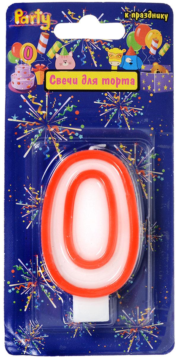 Action! Свеча-цифра для торта 0 лет цвет красный