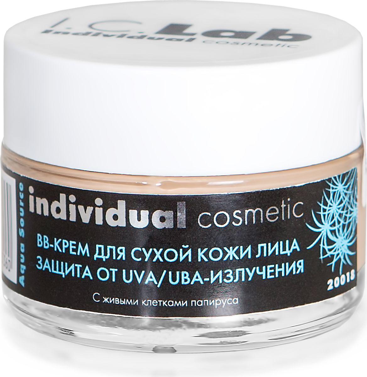 I.C.Lab Individual cosmetic BB-крем для сухой кожи лица с живыми клетками папируса, 50 мл.121356Действует как основа под макияж, адаптируется под цвет кожи, выравнивая ее поверхность и тон, маскируя дефекты. Имеет свойство защиты от солнечных лучей UVA и UBA, активно увлажняет и питает.