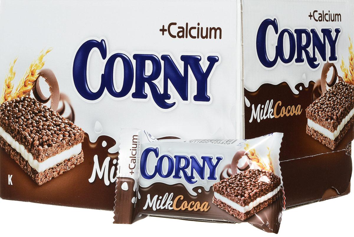 Corny Milk Cocoa батончик злаковый c молоком и какао, 24 шт0120710Злаковые батончики Corny - вкусная и здоровая альтернатива традиционным снэкам - шоколадным плиткам, чипсам и булкам. Батончики сочетают в себе исключительную пользу и удобство. В их состав входят злаки, орехи, фрукты и шоколад. Разнообразие видов позволяет каждому выбрать батончик по своему вкусу. Медленные углеводы заряжают полезной энергией, а удобная форма и упаковка соответствуют быстрому ритму жизни.Уважаемые клиенты! Обращаем ваше внимание, что полный перечень состава продукта представлен на дополнительном изображении.