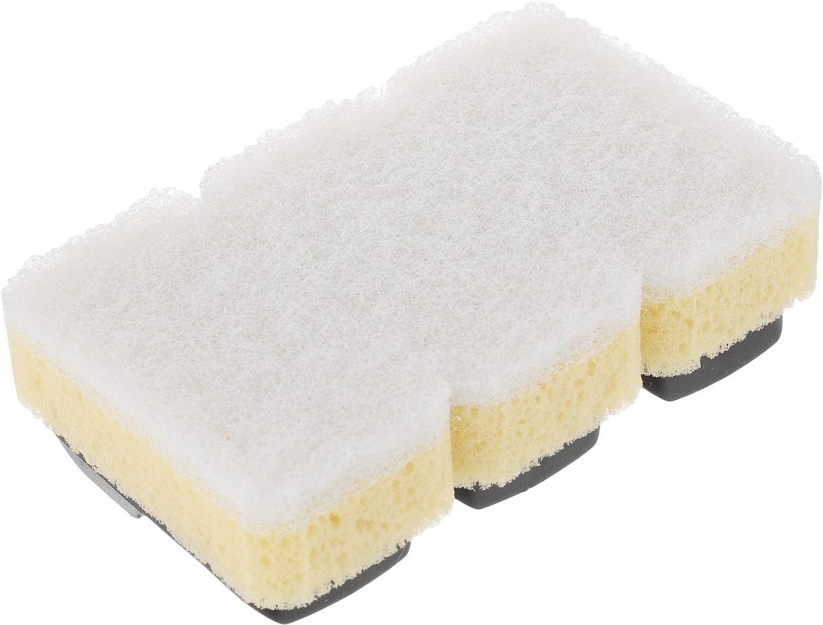 Губка Dishmatic, сменная, для деликатных поверхностей, 3 штNN-604-LS-BUНабор Dishmatic предназначен для замены изношенных губок в изделиях бренда Dishmatic. Губка отлично очищает загрязнения, а мягкий внутренний слой хорошо впитывает и вспенивает моющее средство. Изделие подходит для антипригарных покрытий и других чувствительных поверхностей.Губки изготовлены из переработанных материалов. Они позволяют позаботиться не только о чистоте в доме, но и о природе.Размер одной губки: 7,6 х 4,2 х 2,4 см.