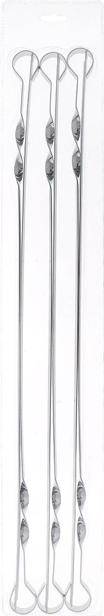Набор шампуров Пикничок, длина 60 см, 6 шт4872Шампуры Пикничок изготовлены из прочной и безопасной пищевой стали с антикоррозийным покрытием. Благодаря удобной витой ручке, шампуры плотно располагаются в пазах мангала и за счет этого не проворачиваются, что облегчает процесс жарки шашлыка, а также способствует максимально равномерному приготовлению продукта. Заостренные окончания шампуров позволяют насаживать ломтики легко, быстро, безопасно и, вместе с тем аккуратно – сохраняя их целостность. Толщина шампуров оптимальна для того, чтобы во время приготовления шашлыка они не прогибались и не деформировались под тяжестью нанизанных продуктов. Рекомендуемая нагрузка для одного шампура не более 400 грамм. Профильные шампуры за счет своей удобной формы идеально подходят для приготовления куриных окорочков и ребрышек.Толщина шампура: 1,5 мм.
