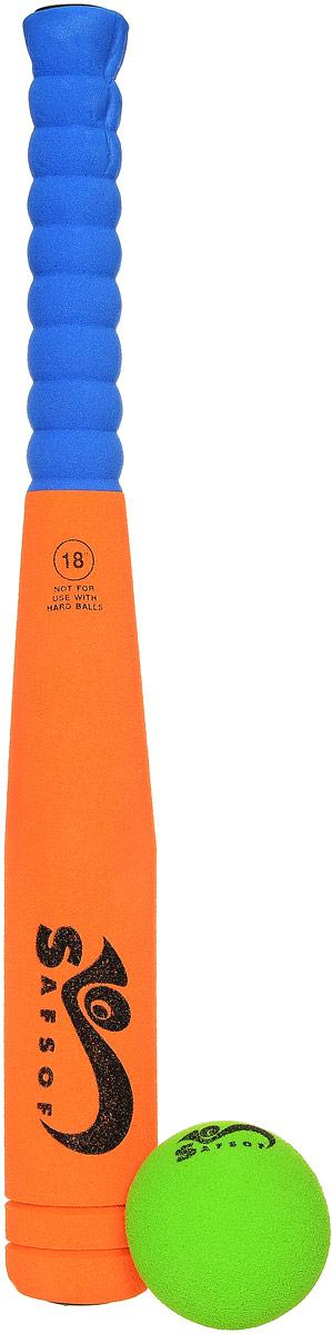 Safsof Игровой набор Бейсбольная бита и мяч цвет оранжевый синий зеленый safsof игровой набор бейсбольная бита и мяч цвет зеленый желтый