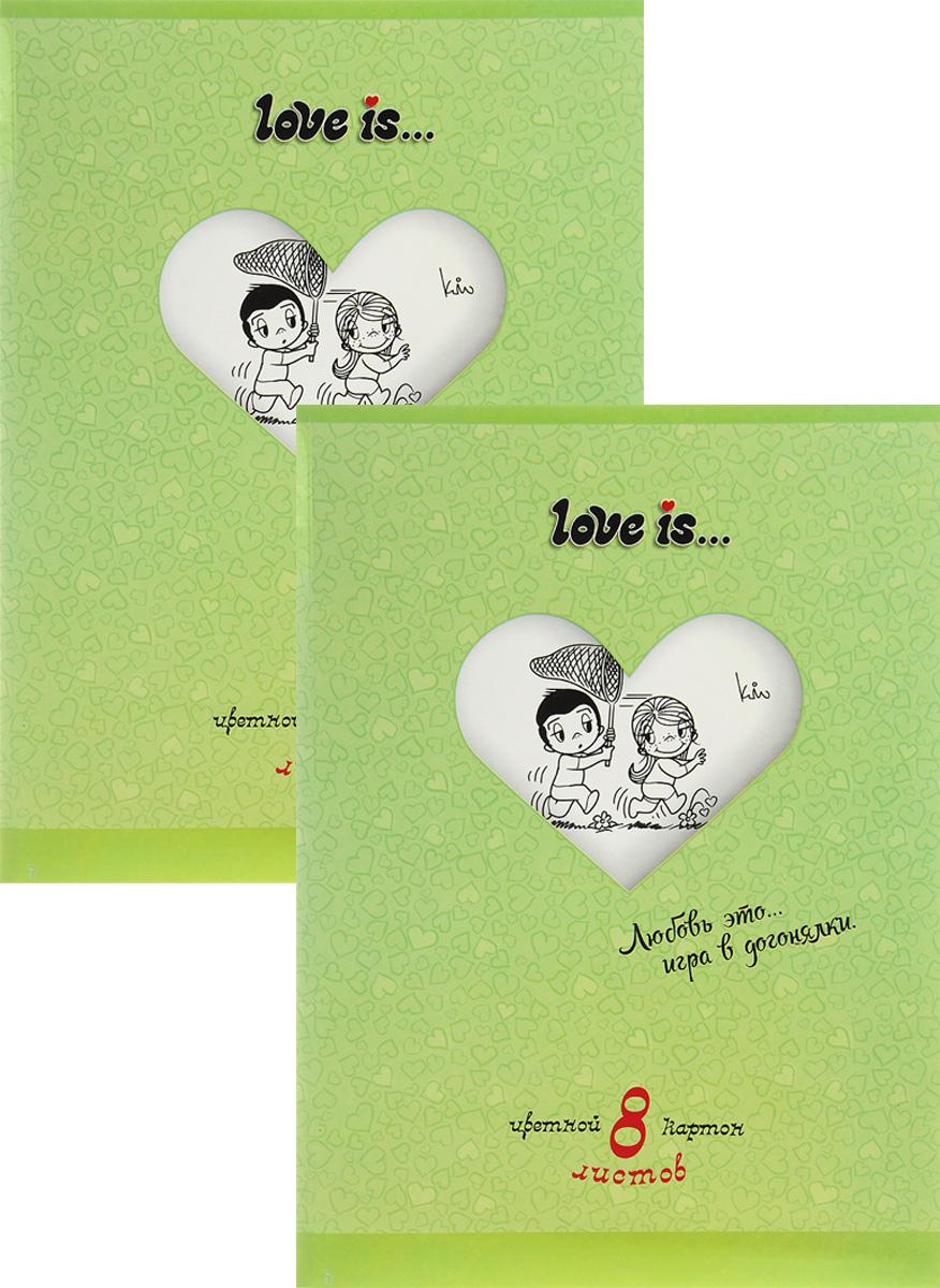 Action! Набор цветного картона Love is… 8 листов цвет папки зеленый 2 шт730396Набор цветного картона Action! Love is... позволит создавать всевозможные аппликации и поделки. Набор включает 2 папки цветного картона по 8 листов формата А4 в каждой.Цвета: желтый, красный, зеленый, синий, оранжевый, белый, коричневый черный.Создание поделок из цветного картона позволяет ребенку развивать творческие способности, кроме того, это увлекательный досуг.