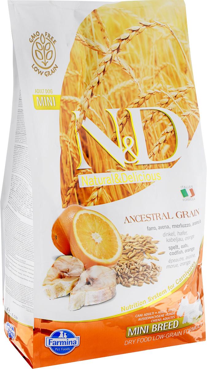 Корм сухой Farmina N&D для собак мелких пород, низкозерновой, с треской и апельсином, 2,5 кг0120710Сухой корм Farmina N&D является низкозерновым и сбалансированным питанием для взрослых собак мелких пород. Изделие имеет высокое содержание витаминов и питательных веществ. Сухой корм содержит натуральные компоненты, которые необходимы для полноценного и здорового питания домашних животных. Линия продуктов Farmina N&D - это сухие корма для собак, рецептура которых построена по принципу питания плотоядных животных. Товар сертифицирован.