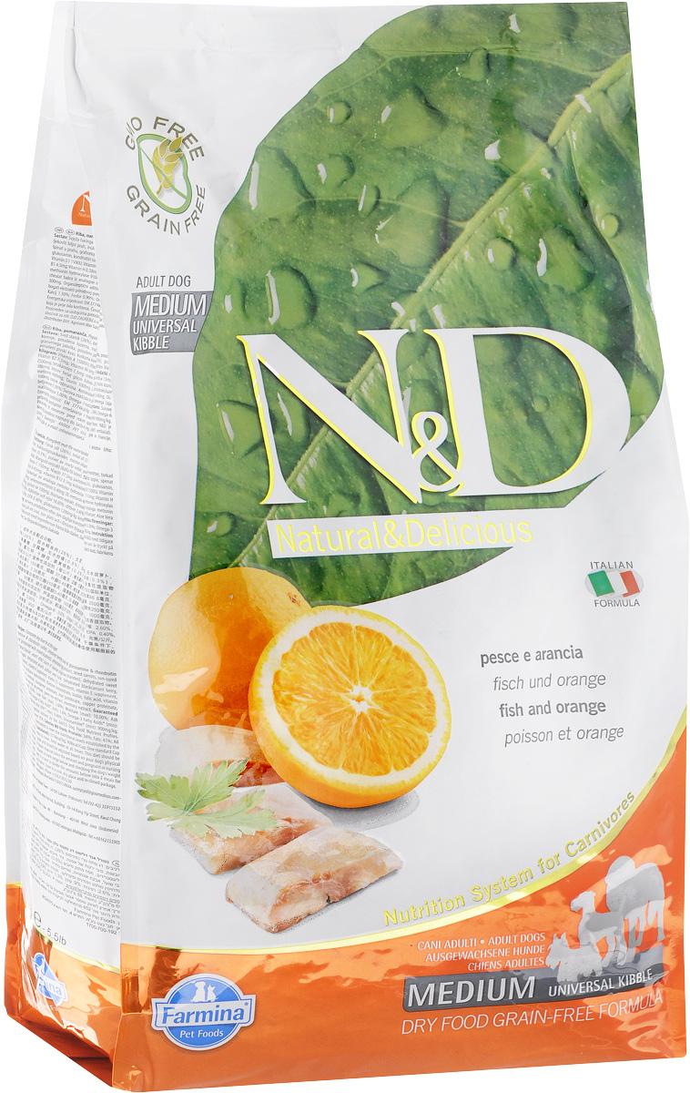 Корм сухой Farmina N&D для взрослых собак, беззерновой, с рыбой и апельсином, 2,5 кг0120710Сухой корм Farmina N&D является беззерновым и сбалансированным питанием для взрослых собак. Изделие имеет высокое содержание витаминов и питательных веществ. Сухой корм содержит натуральные компоненты, которые необходимы для полноценного и здорового питания домашних животных.Товар сертифицирован.