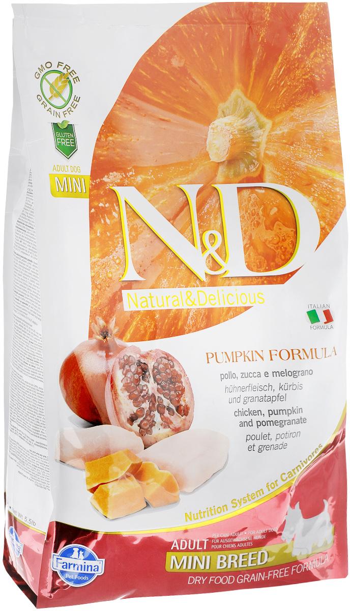 Корм сухой Farmina N&D для собак мелких пород, беззерновой, с курицей, гранатом и тыквой, 2,5 кг0120710Сухой корм Farmina N&D является беззерновым и сбалансированным питанием для собак мелких пород. Изделие имеет высокое содержание витаминов и питательных веществ. Сухой корм содержит натуральные компоненты, которые необходимы для полноценного и здорового питания домашних животных.Товар сертифицирован.