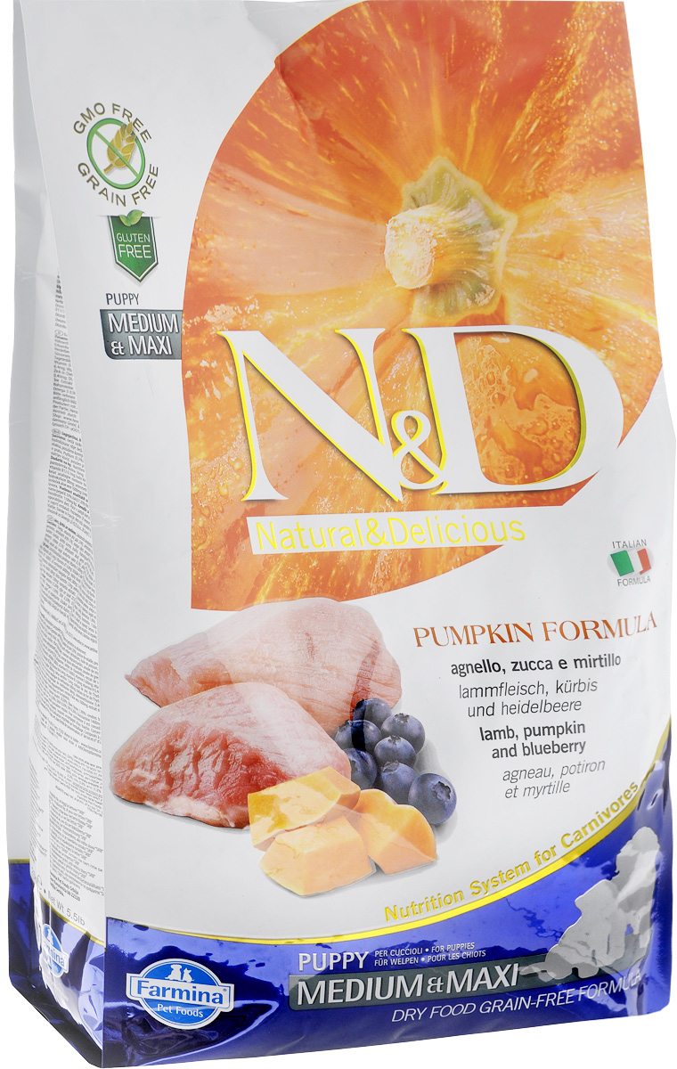Корм сухой Farmina N&D для щенков средних и крупных пород, беззерновой, с ягненком, черникой и тыквой, 2,5 кг4607045060783Сухой корм Farmina N&D является беззерновым и сбалансированным питанием для щенков средних и крупных пород, также подходит для беременных и кормящих собак. Изделие имеет высокое содержание витаминов и питательных веществ. Сухой корм содержит натуральные компоненты, которые необходимы для полноценного и здорового питания домашних животных.Товар сертифицирован.