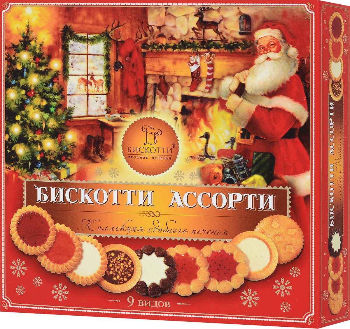 Бискотти Ассорти печенье сдобное, 345 г (9 видов)ищд205рНабор сдобного печенья Бискотти Ассорти из девяти видов печенья порадует всех любительниц сладкого. Продукция упакована в презентабельно оформленную коробочку. Идеальный подарочный вариант. В набор входит: - Бискотти с кремом - печенье сдобное с кремовой начинкой, глазированное; - Бискотти с орехом - печенье сдобное с шоколадно-ореховой начинкой, декорированное дробленым орехом, обжаренным в карамели, глазированное; - Бискотти с кокосом - печенье сдобное с кокосовой начинкой, декорированное мякотью кокосового ореха, глазированное; - Бискотти с вишневым мармеладом; - Бискотти с апельсиновым мармеладом; - Бискотти Шокко - печенье сдобное рассыпчатое, глазированное; - Бискотти Ноттэ - печенье сдобное с кремовой начинкой, шоколадное тесто, глазированное.Уважаемые клиенты! Обращаем ваше внимание на то, что упаковка может иметь несколько видов дизайна. Поставка осуществляется в зависимости от наличия на складе.