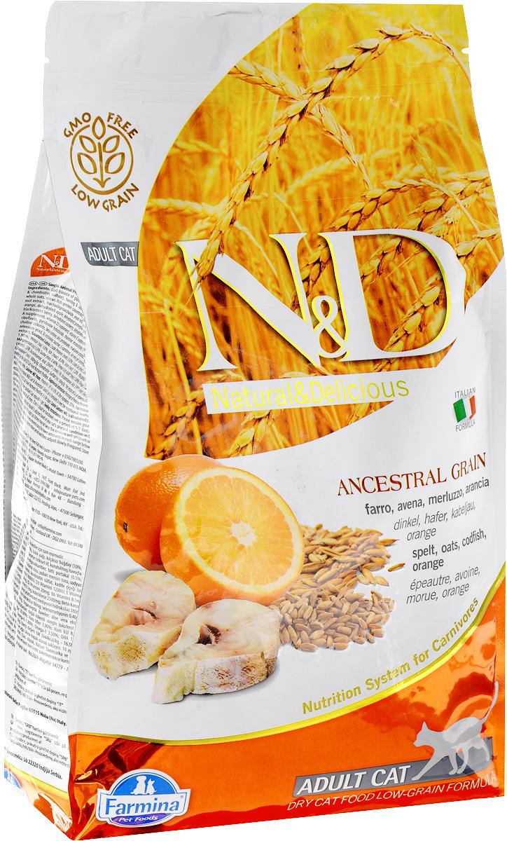 Корм сухой Farmina N&D для взрослых кошек, низкозерновой, с треской и апельсином, 1,5 кг58067Сухой корм Farmina N&D является низкозерновым полноценным питанием для взрослых кошек. Изделие имеет высокое содержание витаминов и питательных веществ. Сухой корм содержит натуральные компоненты, которые необходимы для полноценного и здорового питания домашних животных.Товар сертифицирован.