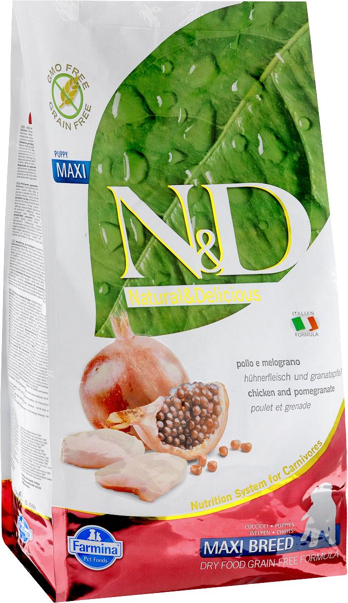 Корм сухой Farmina N&D для щенков крупных пород, беззерновой, с курицей и гранатом, 2,5 кг33208Сухой корм Farmina N&D является беззерновым и сбалансированным питанием для щенков крупных пород. Изделие имеет высокое содержание витаминов и питательных веществ. Сухой корм содержит натуральные компоненты, которые необходимы для полноценного и здорового питания домашних животных.Товар сертифицирован.