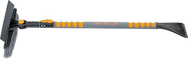Щетка для снега Stels, телескопическая, со скребком, водосгоном и поворотной головкой, 90-130 смDW90Щетка для снега Stels оснащена густой щетиной, которая предназначена для бережной очистки снега с поверхности. Она имеет телескопическую рукоятку с функцией установки фиксированной длины, а также поворотную головку с фиксацией в 5 положениях. Мощный скребок с зубьями предназначен для дробления льда, а мягкий водосгон - для удаления воды и талого снега со стекол.