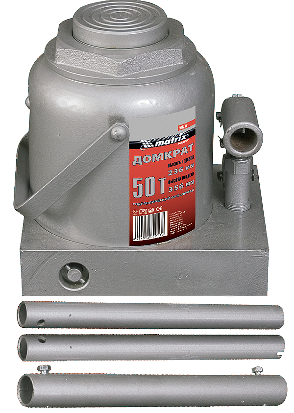 Домкрат гидравлический бутылочный Matrix, 2 т, высота подъема 18,1–34,5 смAL-350Гидравлический домкрат Matrix с клапаном безопасности предназначен для подъема груза массой до 2 тонн. Домкрат является незаменимым инструментом в автосервисе, часто используется при проведении ремонтно-строительных работ. Минимальная высота подхвата составляет 18,1 см. Максимальная высота, на которую домкрат может поднять груз, составляет 34,5 см.Этой высоты достаточно для установки жесткой опоры под поднятый груз и проведения ремонтных работ. Клапан безопасности предотвращает подъем груза, масса которого превышает заявленную производителем массу.