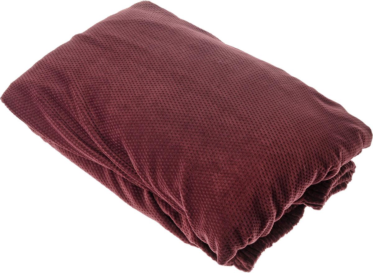 Чехол на диван Медежда Бирмингем, трехместный, цвет: красно-коричневый1403031110002Чехол на трехместный диван Медежда Бирмингем изготовлен из стрейчевого велюра (100 полиэстер). Тонкий геометрический дизайн добавляет уют помещению. Велюр - по праву один из уверенных лидеров среди мебельных тканей. Поверхность велюра приятна для прикосновений. Сочетание нежности и прочности - визитная карточка велюра. Вещи из него даже спустя много лет смотрятся, как новые. Чехол легко растягивается и хорошо принимает форму дивана, подходит для большинства стандартных диванов с шириной спинки от 185 до 235 см. За счет специальных фиксаторов чехол прочно держится на мебели, не съезжает и не соскальзывает. Имеется инструкция в картинках по установке чехла. Ширина спинки: 185-235 см. Длина подлокотника: 60-80 см. Высота сиденья от пола: 45-50 см. Глубина сиденья: 45-55 см.