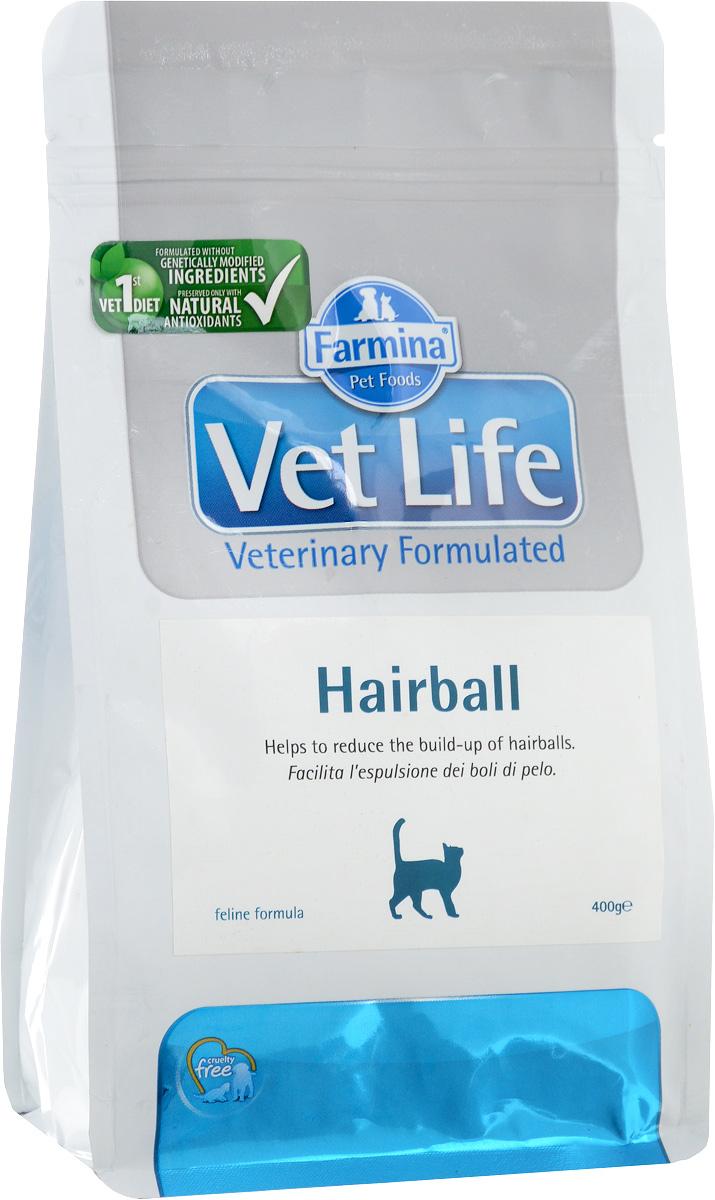 Корм сухой для взрослых кошек Farmina Vet Life, диетический, для выведения комочков шерсти из кишечника, 400 г4607045060783Сухой корм Farmina Vet Life - полнорационное питание для взрослых кошек, которое способствует выведению комочков шерсти из кишечника.Механизм действия:-Оптимальное соотношение растворимой и нерастворимой фракций клетчатки регулирует дефекацию. -Введение в рецептуру пребиотиков поддерживает баланс кишечной микрофлоры и улучшает усвоение питательных веществ. -Добавки витаминов и аминоксилот поддерживают здоровье кожи и шерсти. -Контролируемый уровень магния в сочетании с сульфатом кальция снижают риск развития мочекаменной болезни.Состав: дегидратированное куриное мясо, овес, волокна гороха (10%), животный жир, кукурузный глютен, дегидратированная рыба, рис, льняное семя, пульпа сахарной свеклы, гидролизат белков животного происхождения, дегидратированные цельные яйца, рыбий жир, растительное масло, подорожник (1,5%), фруктоолигосахариды (0,6%), маннанолигосахариды (0,6%), пивные дрожжи, хлорид калия, хлорид натрия, сульфат кальция дигидрат (4г/кг), экстракт календулы (источник лютеина).Товар сертифицирован.