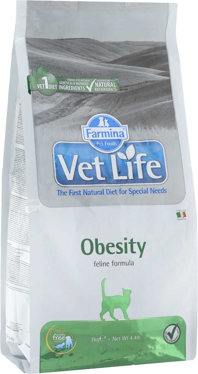 Корм сухой для взрослых кошек Farmina Vet Life, диетический, для снижения излишнего веса, 2 кг0120710Сухой корм Farmina Vet Life - диетическое питание для взрослых кошек, разработанное для снижения излишнего веса. Снижение энергетической плотности продукта и увеличение содержания углеводов делает корм незаменимым в терапии ожирения. Товар сертифицирован.