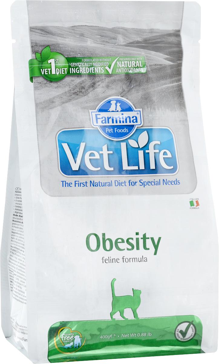 Корм сухой для взрослых кошек Farmina Vet Life, диетический, для снижения излишнего веса, 400 г0120710Сухой корм Farmina Vet Life - диетическое питание для взрослых кошек, разработанное для снижения излишнего веса. Снижение энергетической плотности продукта и увеличение содержания углеводов делает корм незаменимым в терапии ожирения. Товар сертифицирован.