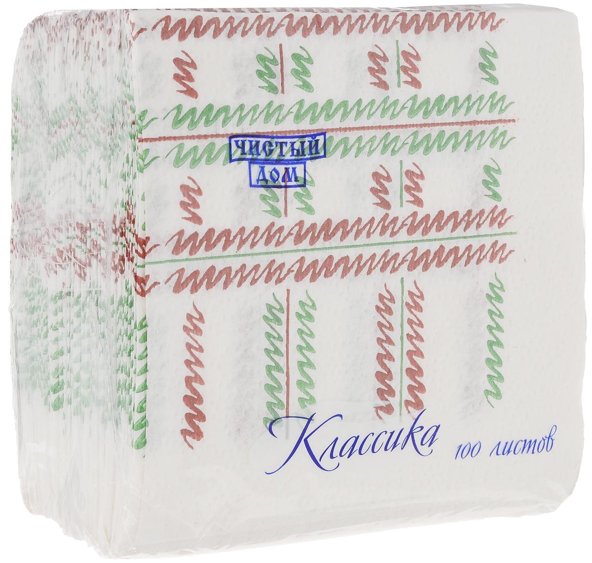 Салфетки бумажные Чистый дом Классика. Штрихи, однослойные, цвет: белый, зеленый, коричневый, 25 х 25 см, 100 шт7426Однослойные салфетки Чистый дом Классика выполнены из 100% целлюлозы и оформлены оригинальным рисунком. Они подходят для косметического, санитарно-гигиенического и хозяйственного назначения. Изделия нежные и мягкие.Размер салфеток: 25 х 25 см.Количество слоев: 1.