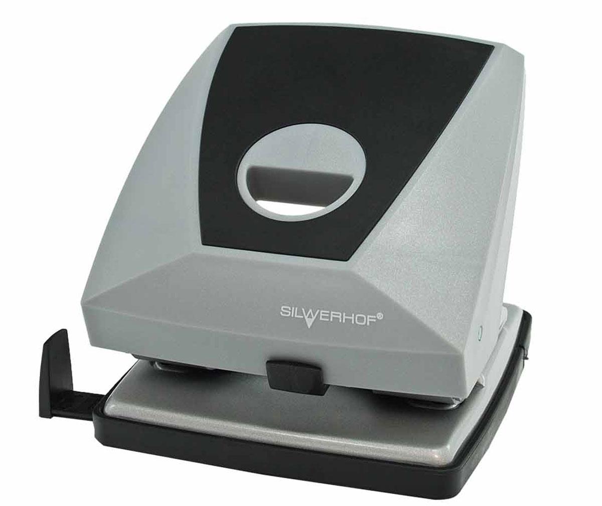 Silwerhof Дырокол Diamond на 30 листов цвет серый черный391005-01Надежный цельнометаллический дырокол Silwerhof Diamond - это незаменимый офисный инструмент для перфорации бумаги и картона.Пробивной механизм выполнен из легированной стали. Дырокол предназначен для одновременной перфорации до 30 листов бумаги 80г/м. Корпус дырокола оснащен удобным эргономичным отверстием. Дырокол имеет выдвижную линейку с разметкой для документов различных форматов, а также съемный резервуар для обрезков бумаги,встроенный в основание.Имеется фиксатор для хранения дырокола в закрытом состоянии.