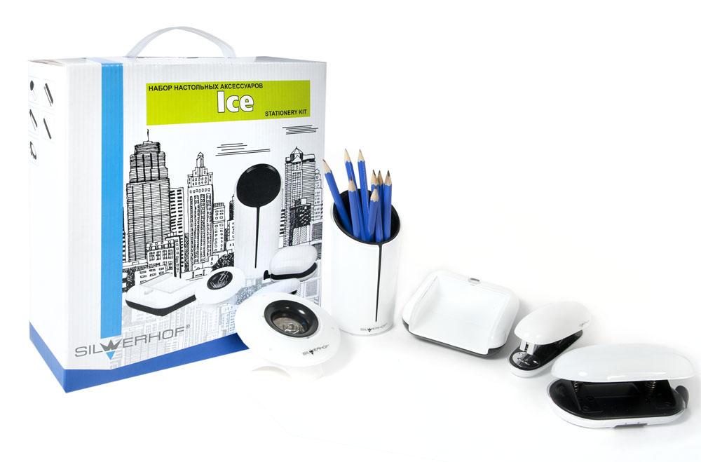 Silwerhof Настольный офисный набор Ice 5 предметов172032Офисные принадлежности современного дизайна, выполненные в черно-белых цветах, легко впишутся в интерьер любого офиса.В набор входят стакан для пишущих принадлежностей, диспенсер для скрепок, дырокол пластиковый, степлер пластиковый, подставка для бумаги.Набор выполнен из качественного материала.