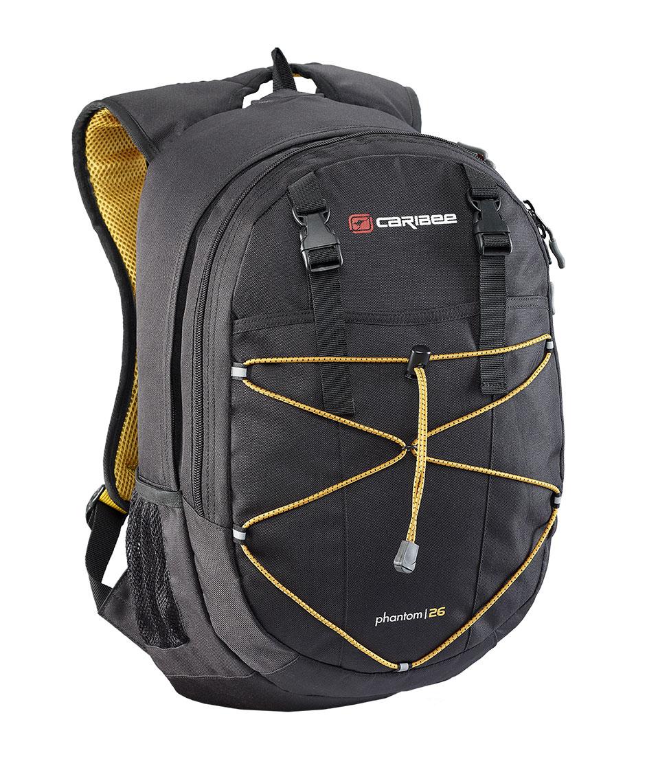Рюкзак городской Caribee Phantom, цвет: черный, 24 л6102Отличный рюкзак Caribee Phantom для ежедневного использования, компактный и функциональный.Снабжен одним внутренним отделением и передним карманом на молнии, система резинок на фронтальной части рюкзака позволяет плотнее зафиксировать его содержимое, если рюкзак используется во время занятий спортом (бег, велосипедные прогулки и т.д.).Регулируемый нагрудный ремень обеспечивает плотную посадку рюкзака на спине.Совместимость с питьевой системой позволяет значительно облегчить жизнь туристам и спортсменам, которые могут пить воду посредством длинной силиконовой трубки, не занимая рук флягами и бутылками.Наряду с этим рюкзак вмещает документы формата А4 и имеет встроенный органайзер, поэтому может быть использовать для учебы или работы.Объем: 26 л.Размер: 46 x 28 x 18 см.