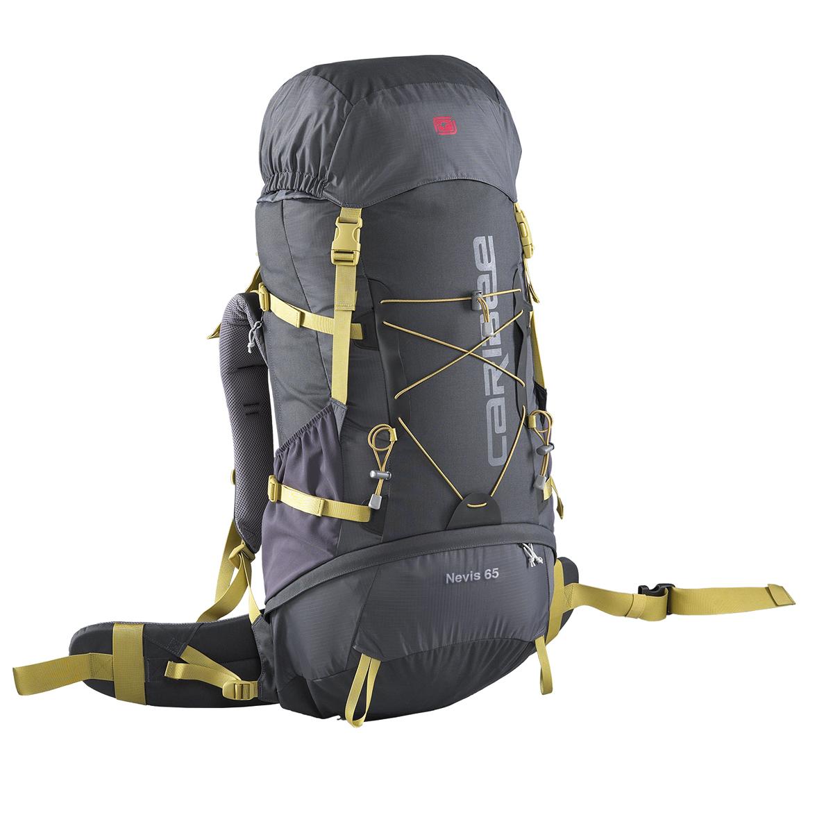 Рюкзак туристический Caribee Nevis, цвет: темно-серый, 65 л13523-456-00С рюкзаком Caribee Nevis вам под силу любой экстрим! Его высокое качество гарантирует надежность и сохранность всех вещей даже на большой высоте. Модель имеет полиуретановое покрытие и выполнена из нейлоновых тканей 500D Cordura и 210D Square Ripstop, благодаря чему рюкзак обладает высокими характеристиками для эксплуатации. Несмотря на грубое трение, материал, из которого он изготовлен, остается стойким и не рвется. Даже дождь не способен испортить его качество, так как модель не впитывает влагу. Снег, град, солнце, тепло, холод – ничто не может испортить содержимое рюкзака и его внешний вид. Пользуясь им, вы почувствуете всю прелесть экстремальных экспедиций! Характеристики: -Суперлегкая конструкция и дизайн. -Система спинки Air Flow обеспечивает комфортную посадку. -Встроенный алюминиевый каркас. -Вентилируемая спинка и поясной ремень. -Мягкий набедренный ремень с карманами на молнии. -Регулируемый по высоте верхний клапан на молнии. -Карман для карты. -Компрессионные стропы. -Боковые карманы для бутылок. -Встроенный чехол от дождя. -Отсек первой помощи. -Отделение для питьевой системы. Объем: 65 л. Размер: 80 х 32 x 25 см.