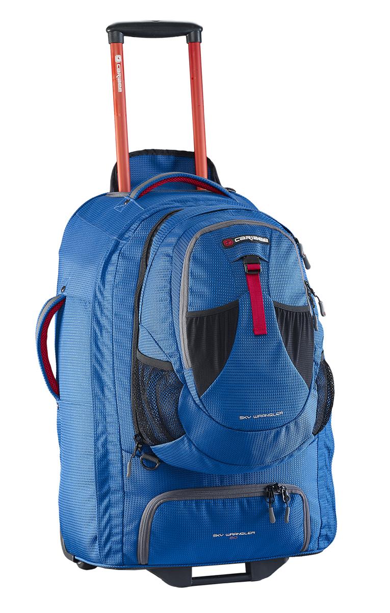 Рюкзак для путешествий Caribee Europa, цвет: голубой, 60 л6824В серии рюкзаков для путешествий Caribee Europa используется усиленный материал 1200D Dimotec. Эти рюкзаки специально предназначены для активных поездок - когда и рюкзак и колеса имеют большое значение.В рюкзаке есть отстегивающийся мини-рюкзак (передний отдел), который вам очень пригодится при перелетах. Основной отдел очень вместителен и включает в себя отдельный отсек для обуви. Алюминиевая выдвигающаяся ручка с кнопкой и увеличенные колеса обеспечат вам легкое преодоление любых преград на любой местности. А если дорога совсем непроходима, вы можете перекинуть рюкзак через плечо и продолжить путь.Все молнии усилены и не уступают по прочностным характеристикам тем, которыми оснащаются туристические и альпинистские рюкзаки.Как дополнительная защитная функция, мини-рюкзак может быть закреплен специальными ремнями с противоположной стороны основного рюкзака. Таким образом, основной рюкзак будет у вас за плечами, а мини-рюкзак с ценными вещами или документами будет перед вами.Отстегивающийся многофункциональный передний отдел/мини-рюкзак на 15 л, который можно использовать и как компактный городской рюкзак.Усиленная 1200D матерчатая конструкция обладает повышенной стойкостью к истиранию, износу, порезам.Анатомические скрытые мягкие наплечные ремни.Суперлегкая выдвигающаяся алюминиевая ручка с кнопкой, может быть полностью убрана в корпус и закрыта сверху на молнию. Усиленный роликовый механизм колес для любой поверхности, рассчитан на серьезные нагрузки, обеспечивает мягкий ход рюкзака. Пластиковая подставка для максимальной устойчивости. Пластиковое дно изогнутой формы для надежной и жесткой фиксации роликового механизма.Нижний отдел на молнии для обуви.Молния по всему периметру рюкзака.Внутреннее отделение с фиксирующими ремнями для одежды и большим карманом на молнии.Усиленная молния замка основного отделения.В отстегивающимся отделе (мини-рюкзаке) предусмотрено отделение для личных вещей и передний карм