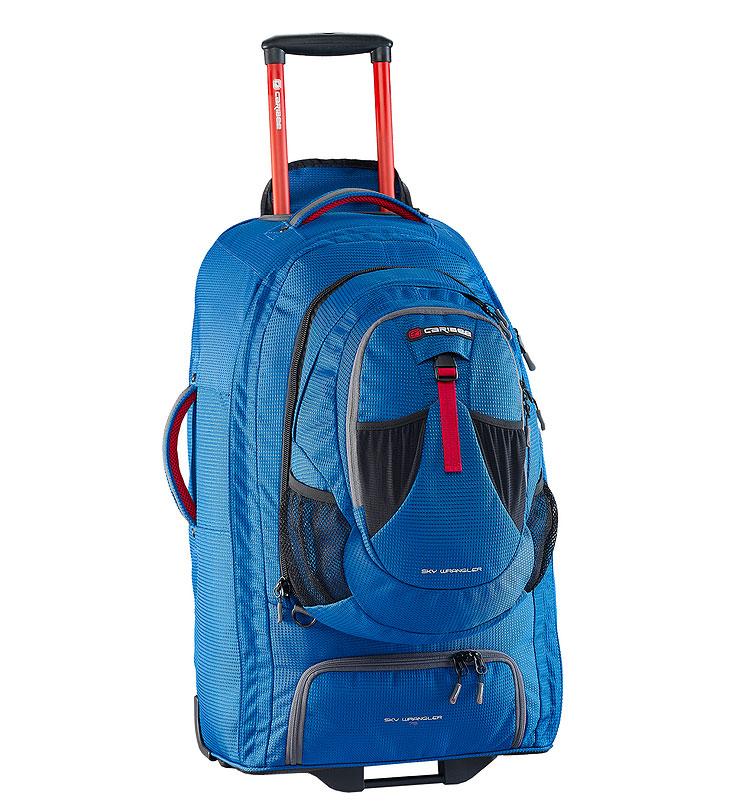 Рюкзак для путешествий Caribee Europa, цвет: голубой, 75 лГризлиВ серии рюкзаков для путешествий Caribee Europa используется усиленный материал 1200D Dimotec. Эти рюкзаки специально предназначены для активных поездок - когда и рюкзак и колеса имеют большое значение.В рюкзаке есть отстегивающийся мини-рюкзак (передний отдел), который вам очень пригодится при перелетах. Основной отдел очень вместителен и включает в себя отдельный отсек для обуви. Алюминиевая выдвигающаяся ручка с кнопкой и увеличенные колеса обеспечат вам легкое преодоление любых преград на любой местности. А если дорога совсем непроходима, вы можете перекинуть рюкзак через плечо и продолжить путь.Все молнии усилены и не уступают по прочностным характеристикам тем, которыми оснащаются туристические и альпинистские рюкзаки.Как дополнительная защитная функция, мини-рюкзак может быть закреплен специальными ремнями с противоположной стороны основного рюкзака. Таким образом, основной рюкзак будет у вас за плечами, а мини-рюкзак с ценными вещами или документами будет перед вами.Отстегивающийся многофункциональный передний отдел/мини-рюкзак на 15 л, который можно использовать и как компактный городской рюкзак.Усиленная 1200D матерчатая конструкция обладает повышенной стойкостью к истиранию, износу, порезам.Анатомические скрытые мягкие наплечные ремни.Суперлегкая выдвигающаяся алюминиевая ручка с кнопкой, может быть полностью убрана в корпус и закрыта сверху на молнию. Усиленный роликовый механизм колес для любой поверхности, рассчитан на серьезные нагрузки, обеспечивает мягкий ход рюкзака. Пластиковая подставка для максимальной устойчивости. Пластиковое дно изогнутой формы для надежной и жесткой фиксации роликового механизма.Нижний отдел на молнии для обуви.Молния по всему периметру рюкзака.Внутреннее отделение с фиксирующими ремнями для одежды и большим карманом на молнии.Усиленная молния замка основного отделения.В отстегивающимся отделе (мини-рюкзаке) предусмотрено отделение для личных вещей и передний ка