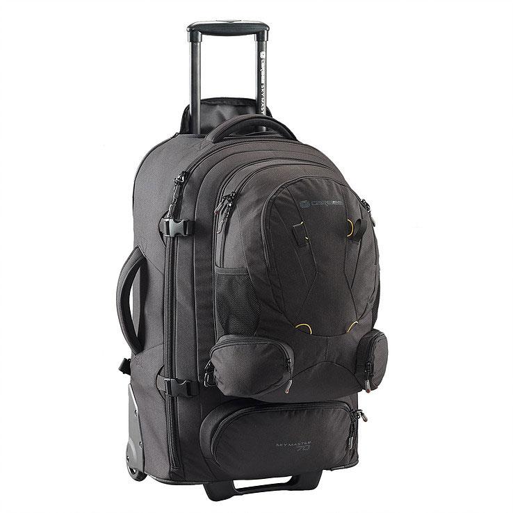 Рюкзак на колесах Caribee Sky Master, цвет: черный, 70 лT6G8N-4993Sky Master предоставляет вам выбор – нести рюкзак или катить его по земле. 70-и и 80-и литровые рюкзаки очень легкие и оборудованы скрытой системой анатомических лямок с мягкой подушкой, бедренном ремнем, поясничной поддержкой, отстегивающимися верхним и нижним отделами, что делает их использование сплошным удовольствием! Алюминиевая выдвигающаяся ручка и большие колеса позволяют легко преодолевать любые дороги. Эти рюкзаки также имеют отстегивающийся небольшой рюкзак, расположенный на лицевой части. Это означает, что по приезде на место вам не понадобится таскать повсюду весь рюкзак целиком. Чтобы помочь разложить вещи во время путешествия, рюкзак оборудован длинной молнией и отстегивающимся отделом для обуви. Таким образом вы легко сможете достать вещи из любого места рюкзака, а ваша обувь не испачкает одежду. Закрывающийся на молнию корпус, набедренные ремни с мягкой защитой, множество внутренних карманов и фиксирующие ремни, защищающие вашу одежду, делают Sky Master надежным и незаменимым в путешествиях. Рюкзак на колесах премиум класса.Эргономичная спинка с мягкими подушечками.Набедренный и плечевой ремни для снижения нагрузки на спинуОтстегивающийся многофункциональный передний карман/минирюкзак.Скрытые мягкие наплечные ремни.Внешние укрупненные колеса – выдерживают большой вес, обеспечивают мягкий ход рюкзака Выдвигающаяся алюминиевая ручка с кнопкой на 2 положения, может быть полностью убрана в корпус и закрыта сверху на молнию.Нижний отдел на молнии для обуви.Три отделения:В основном отделении – фиксирующие ремни для одежды, два маленьких и один большой сетчатые карманы на молнииСреднее отделение с сетчатым карманомПереднее отделение с органайзером и мягким карманом для телефонаДве мягкие ручки для переноса в руках в любом удобном для вас положении.Прочный, немаркий водоотталкивающий материалОбъем: 70л Размер: 64х40х24см Вес: 4.85 кг