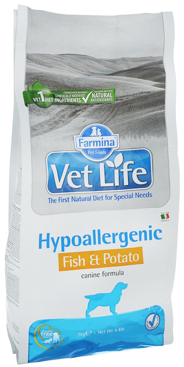 Корм сухой Farmina Vet Life для собак с пищевой аллергией или пищевой непереносимостью, диетический, с рыбой и картофелем, 2 кг0120710Корм сухой Farmina Vet Life - это гипоаллергенное диетическое питание для собак, страдающих пищевой аллергией или пищевой непереносимостью. Также рекомендовано, как вспомогательное средство для улучшения трофических функции кожи и ее производных.Корм Farmina Vet Life содержит единственный источник белка животного происхождения - дикая рыба Северного моря (сельдь) и единственный источник углеводов - картофель, что обеспечивает гипоаллергенные свойства продукта. Повышенное содержание независимых жирных кислот способствует снижению воспалительных процессов в коже и ее производных.Рекомендации по кормлению: использовать по назначению ветеринарного врача.Товар сертифицирован.