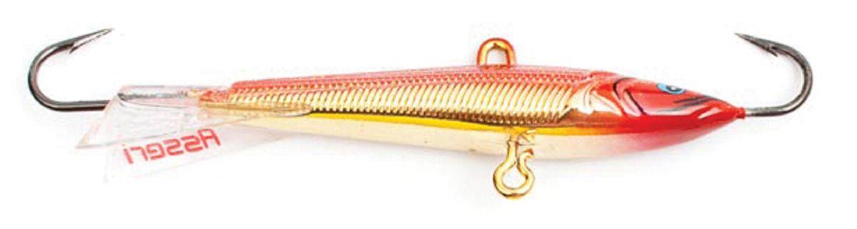 Балансир Asseri, цвет: красный, золотой, длина 5 см, вес 5 г. 513-0500459370Балансир Asseri - это приманка, предназначенная для ловли в отвес. Основным и самым важным отличием балансиров от зимних блесен является способность играть в горизонтальной плоскости. Такая игра имитирует естественные движения мелкой рыбы, которые меньше настораживают хищника. С каждым годом приманки заслуженно занимают место в арсенале любителей зимней ловли хищника. Качественный и стильный балансир Asseri изготовлен по последним новейшим технологиям.