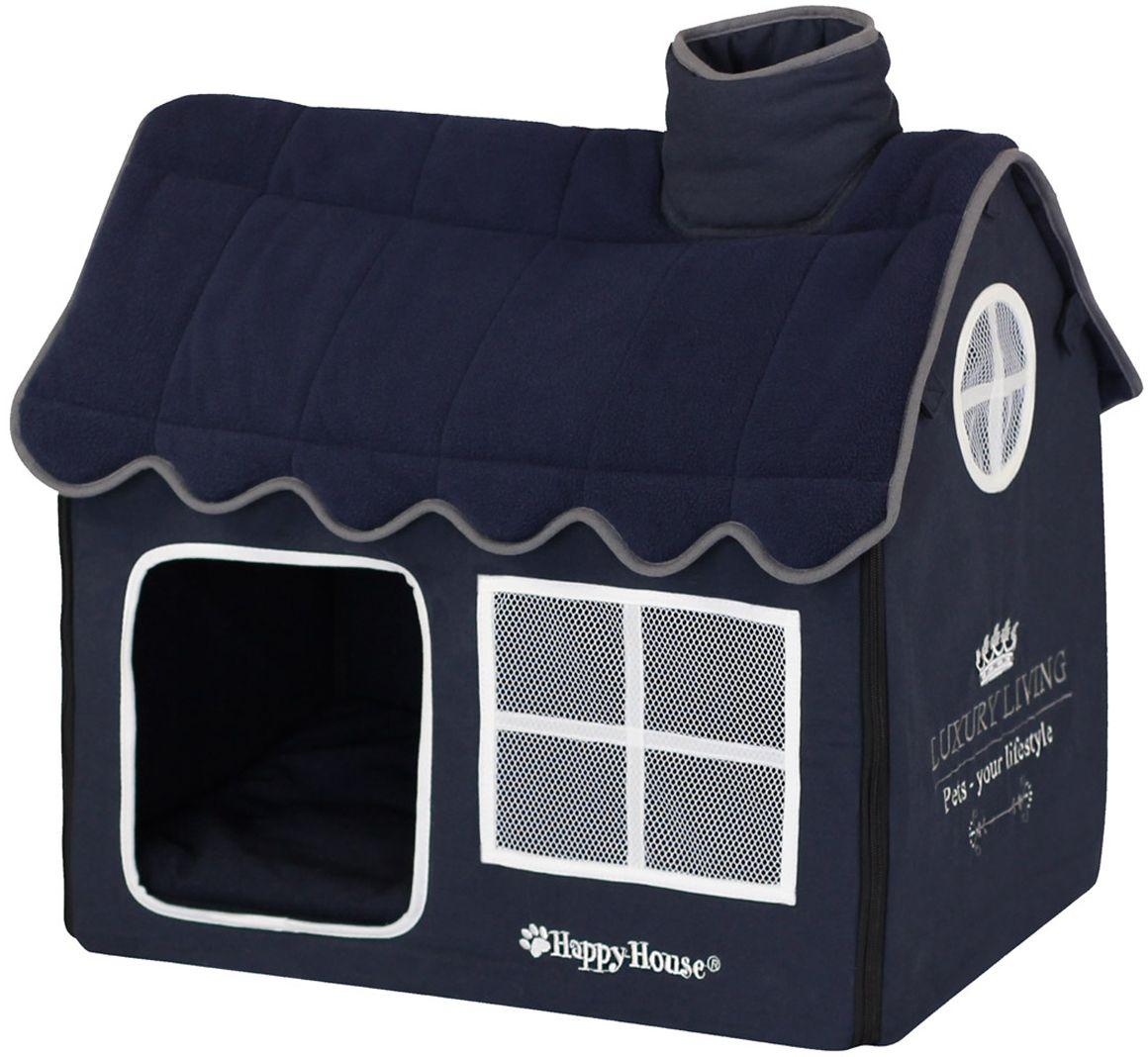 Домик для домашних животных Happy House Luxsury Living, цвет: темно-синий, 52 х 36 х 49 см0120710Большой, уютный домик Happy House Luxsury Living, выполненный из полиэстера и картона, отлично подойдет для вашего любимца. Такой домик станет не только идеальным местом для сна вашего питомца, но и местом для отдыха. Внутрь домика ведет квадратное отверстие. Мягкий домик с оригинальным дизайном имеет сборную конструкцию, что облегчит его транспортировку и хранение. Внутри имеется съемная подушка.Подушку можно стирать при 30°С.Размер домика: 52 х 36 х 49 см.
