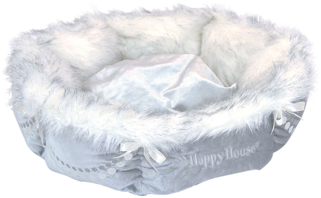 Лежак для животных Happy House Чихуахуа, 40 х 30 х 12 см0120710Лежак Happy House Чихуахуа непременно станет любимым местом отдыха вашего домашнего животного. Изделие выполнено из искусственного меха, велюра и украшено атласными лентами. Материал не теряет своей формы долгое время. Внутри имеется мягкая съемная подстилка. Такой лежак замечательно подойдет маленькой собачке породы чихуахуа. На таком лежаке вашему любимцу будет мягко и тепло. Он подарит вашему питомцу ощущение уюта и уединенности, а также возможность спрятаться.